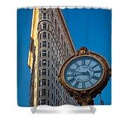 Flatiron Clock Shower Curtain