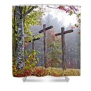 Flax Creek In The Fog Shower Curtain by Debra and Dave Vanderlaan