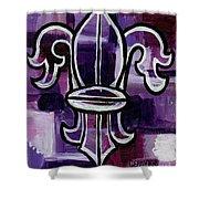 Fleur De Lis Purple Abstract Shower Curtain