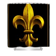 Fleur De Lis In Black And Gold Shower Curtain