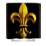 Fleur De Lis In Black And Gold Shower Curtain