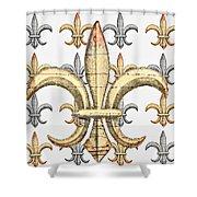 Fleur De Lys Silver And Gold Shower Curtain