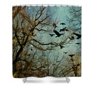 Flight Of The Forest Crows Shower Curtain