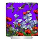 Flight Over Poppies Shower Curtain