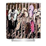 Flip Flops By Jan Marvin Shower Curtain