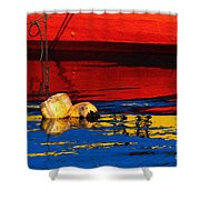 Floating Buoys And Reflections Shower Curtain