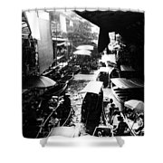 Floating Markets In Black And White Shower Curtain