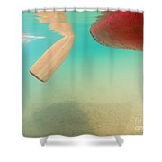 Floating Red Canoe From Underwater Shower Curtain