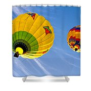 Floating Upward Hot Air Balloons Shower Curtain