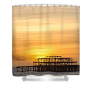 Flock Of Starlings Over The West Pier In Brighton Shower Curtain