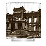 James Clair Flood Mansion Atop Nob Hill San Francisco Earthquake And Fire Of April 18 1906 Shower Curtain