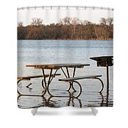 Flooded Park Bench Lunch Shower Curtain