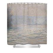 Floods On The Seine Near Bennecourt Shower Curtain by Claude Monet