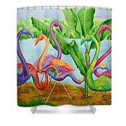 Floosie Flamingos Shower Curtain