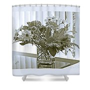 Floral Arrangement With Blinds Reflection Shower Curtain