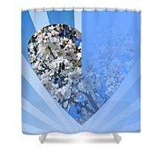Floral Half Heart Shower Curtain