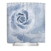 Floral Impression Cyanotype Shower Curtain