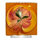 Floral Orange Orb Shower Curtain