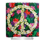 Floral Peace Pop Art Shower Curtain