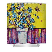 Floral Still Life Blue Hues Shower Curtain