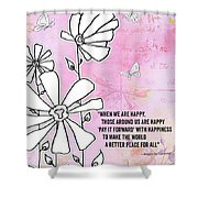 Floral Typography Word Art Quote Flowers And Butterflies By Megan Duncanson Shower Curtain