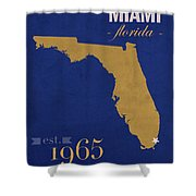 Florida International University Panthers Miami College Town State Map Poster Series No 038 Shower Curtain