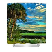Florida Landscape With Palms Shower Curtain