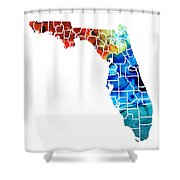 Florida - Map By Counties Sharon Cummings Art Shower Curtain