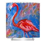 Florida Pink Flamingo - Modern Impressionist Art Shower Curtain