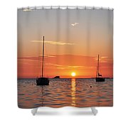 Florida Sailboat Sunset Shower Curtain