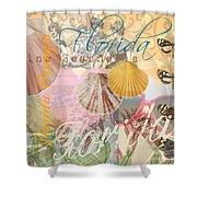 Florida Seashells Collage Shower Curtain