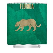 Florida State Facts Minimalist Movie Poster Art  Shower Curtain by Design Turnpike