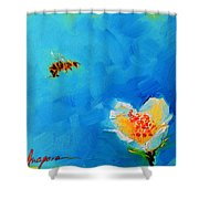 Flower And A Bee Shower Curtain