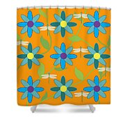 Flower And Dragonfly Design With Orange Background Shower Curtain