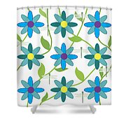 Flower And Dragonfly Design With White Background Shower Curtain