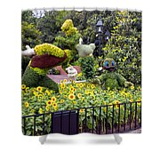 Flower And Garden Signage Walt Disney World Shower Curtain