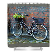 Flower Basket Bicycle Shower Curtain