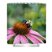 Flower Bumble Bee Shower Curtain