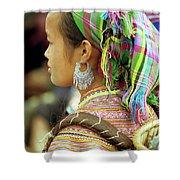 Flower Hmong Woman Shower Curtain