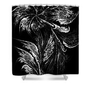 Flower In Black-and-white Shower Curtain