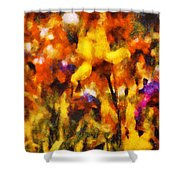 Flower - Iris - Orchestra Shower Curtain by Mike Savad