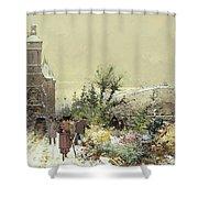 Flower Market Marche Aux Fleurs Shower Curtain by Eugene Galien-Laloue