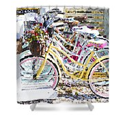 Flower On A Bicycle 2 Shower Curtain