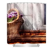 Flower - Pansy - Basket Of Flowers Shower Curtain by Mike Savad