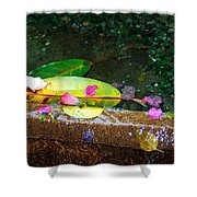 Flower Petals And Leaves Shower Curtain