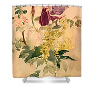 Flower Piece With Iris Laburnum And Geranium Shower Curtain