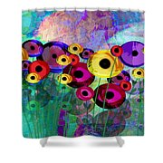 Flower Power Abstract Art  Shower Curtain