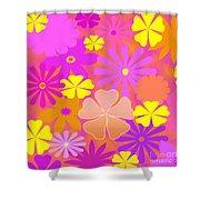 Flower Power Pastels Design Shower Curtain