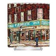 Flower Shop Rue Notre Dame Street Coin Vert Fleuriste Boutique Montreal Winter Stroll Scene Shower Curtain