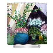 Flower Stand On Worth Ave In Palm Beach Shower Curtain